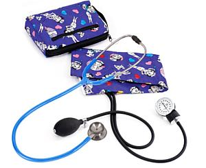 Aneroid Sphygmomanometer / Clinical I Stethoscope Kit, Adult, Betty Boop Colored Hearts, Print