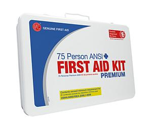 75 Person ANSI/OSHA First Aid Kit, Weather Proof Metal Case PREMIUM