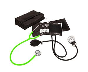 Aneroid Sphygmomanometer / Clinical Lite Stethoscope Kit, Adult, Neon Green