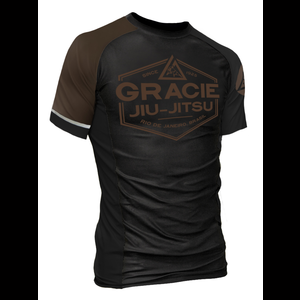 Brown Rank Gracie Short-Sleeve Rashguards (Men)